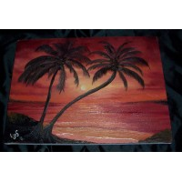 """Caribbean Sunset (black canvas test)"""