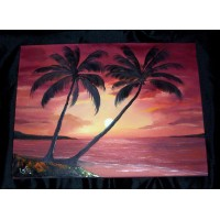 """Caribbean Sunset (white canvas test)"""