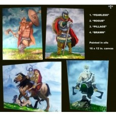 Set of 4 Viking/Warrior paintings